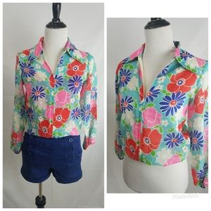 VTG 60S floral zip blouse retro semi sheer jacket